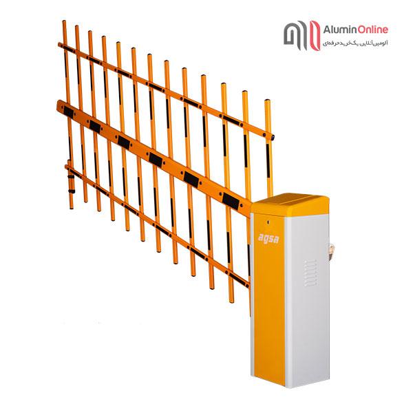 راهبند بازویی فنس دار الکترومکانیک آگسا نیمه باز زرد رنگ