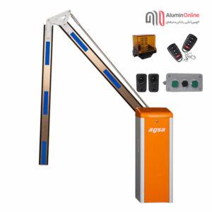 راهبند پارکینگ بازو تاشو 180 درجه فول آپشن مدل agsa606ft با کلید دستی، چشمی ایمنی، فلاشر و دو عدد ریموت کنترل